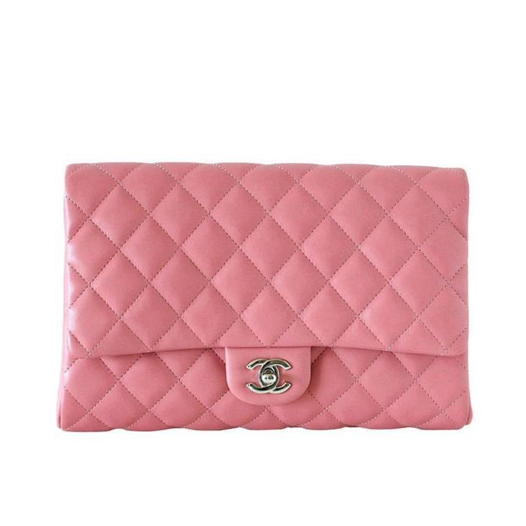 CHANEL Bag Flat Flap Pink Lambskin Clutch / Shoulder new 1