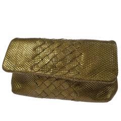 Bottega Veneta Metallic Gold Snakeskin Leather Evening Clutch Flap Bag