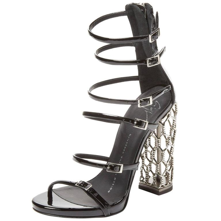 Giuseppe Zanotti NEW & SOLD OUT Black Metal Cage Heels in Box For Sale