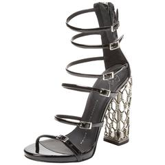 Giuseppe Zanotti NEW & SOLD OUT Black Metal Cage Heels in Box