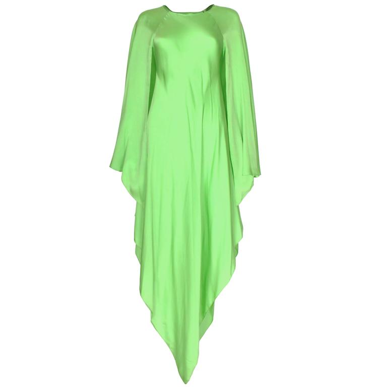 Green silk gown by Oscar de la Renta For Sale