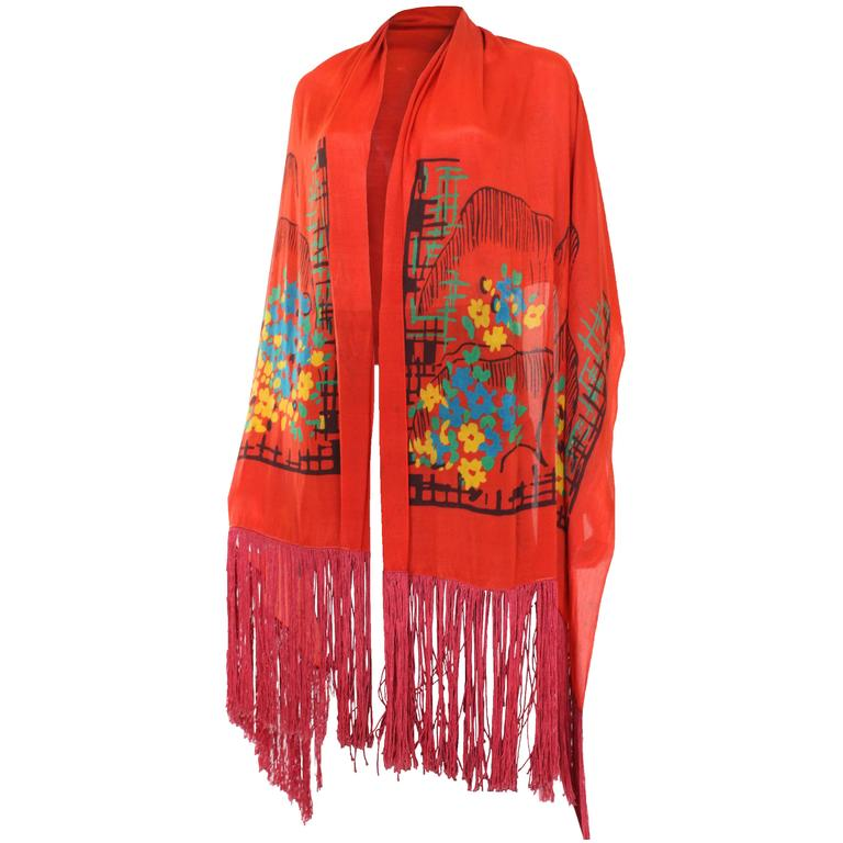 1920s Silk Hand Painted, Fringed Red Shawl 1