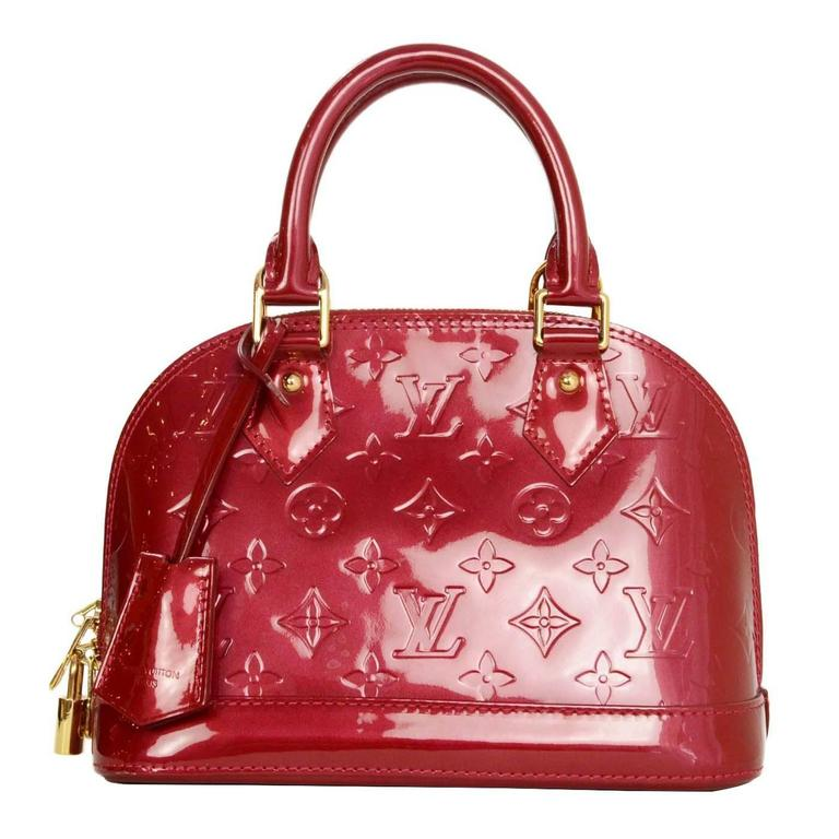 9b6f88ee3c2f27 Louis Vuitton Red Monogram Vernis Mini Alma BB Crossbody Bag For Sale