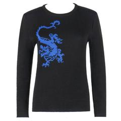 YVES SAINT LAURENT c.1980's Chinese Dragon Crewneck Sweater YSL Rare