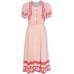 1940s Red & White Polka Dot Tea Dress