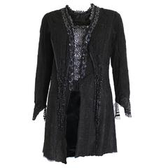 Antique Victorian Black Lace Jacket with Jet Beading