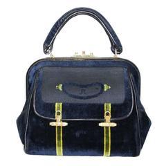 Roberta Di Camerino navy & green velvet bag 60s