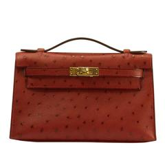 "Hermes Kelly Pochette Ostrich Leather ""Rouge Vif"" Bright Red Color GHW 2017"