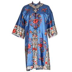 1960s Chinese Blue Silk, Embroiderd Jacket
