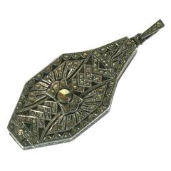 Art Deco Marcasite Lorgnette Pendant