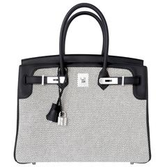 Ultra Limited Hermes Black Swift Criss Cross Ecru Graphite Toile 35cm Birkin VIP