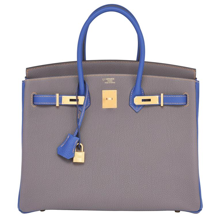Hermes Etain Blue Electric 35cm Togo Gold Special Order Horseshoe VIP Birkin Bag For Sale