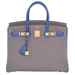 HSS Hermes Etain Blue Electric 35cm Togo Birkin Gold Special Order Horseshoe VIP