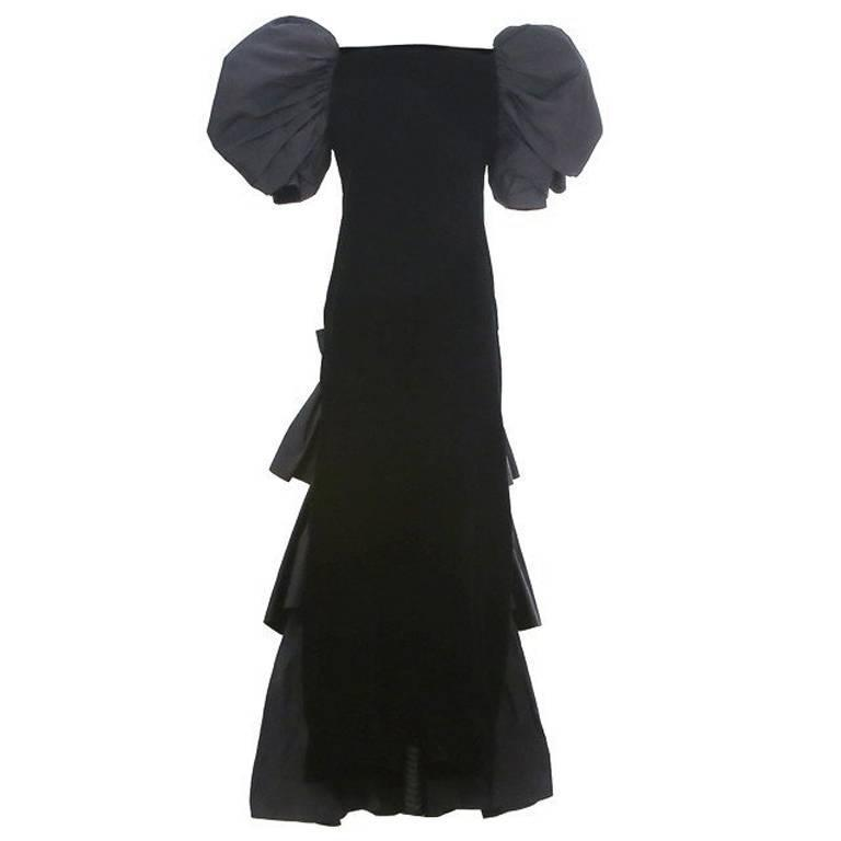 Yves Saint Laurent Haute Couture Velvet Gown with Puffed Sleeves circa 1980s