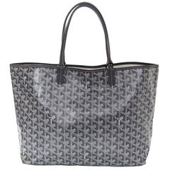 Goyard Grey Chevron St. Louis PM Tote With Pouchette