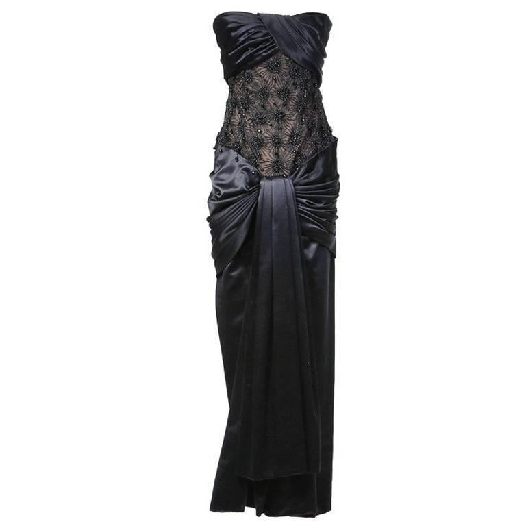 Yves Saint Laurent Haute Couture Satin Beaded Gown 1980s