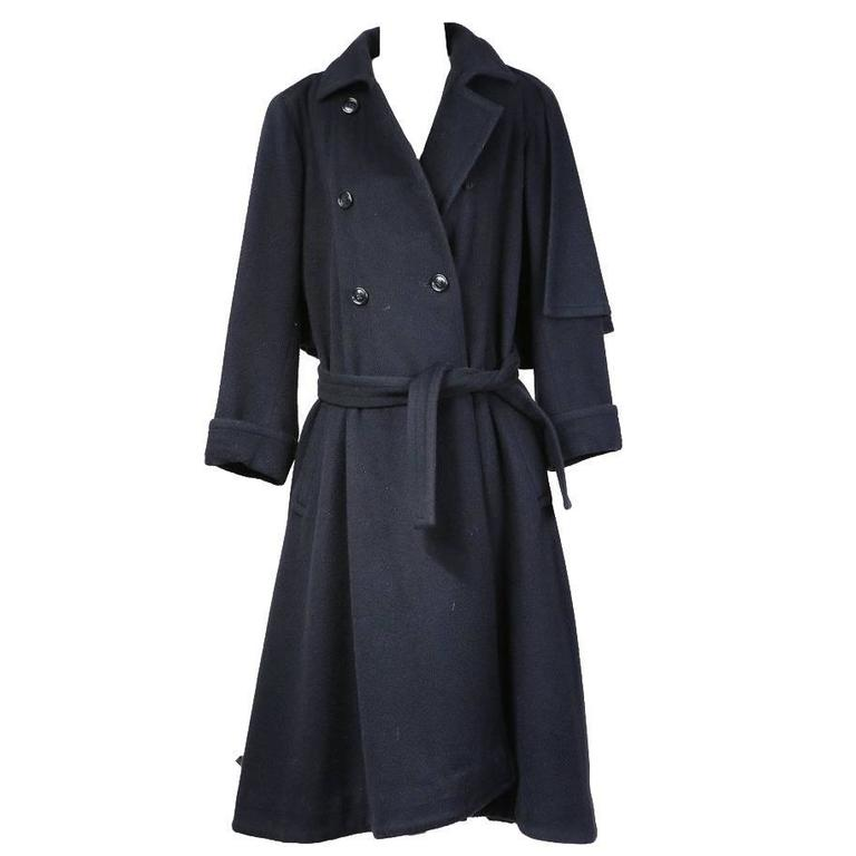 Yves Saint Laurent Soft Wool Coat with Capelet 1980s