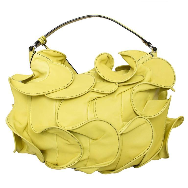 Valentino Ruffled Yellow Leather Handbag For Sale