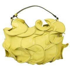 Valentino Ruffled Yellow Leather Handbag
