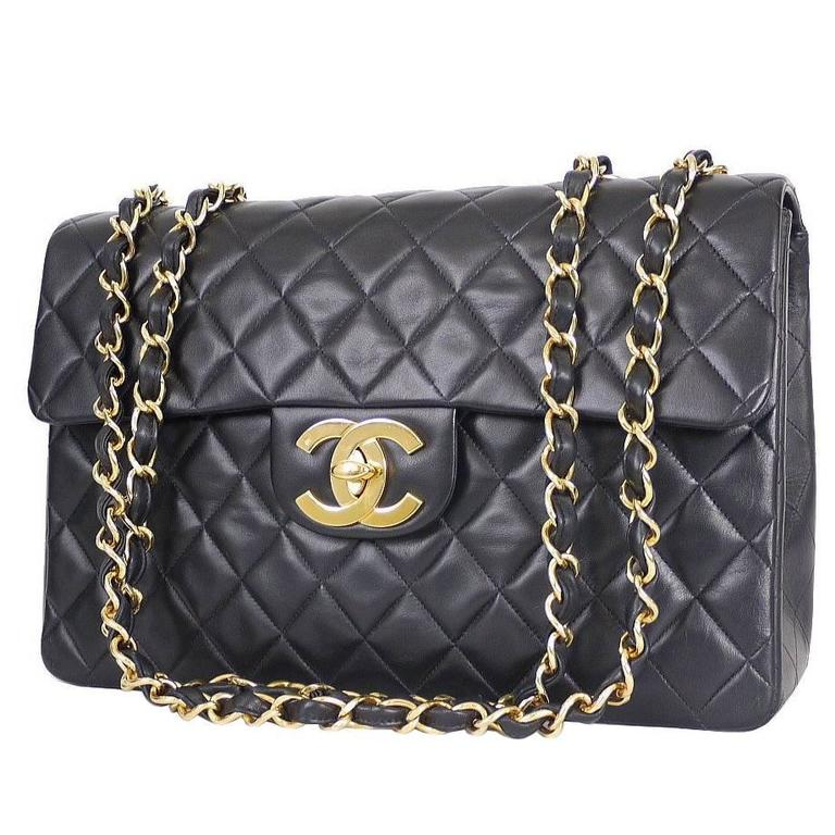 50f41400b5 Vintage Chanel Lambskin Jumbo Classic Flap Bag XL Black at 1stdibs