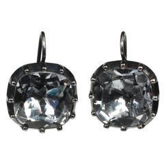 Georgian Style Cushion Cut Rock Crystal Earrings