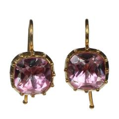 Georgian Style Cushion Cut Pink Rock Crystal Earrings
