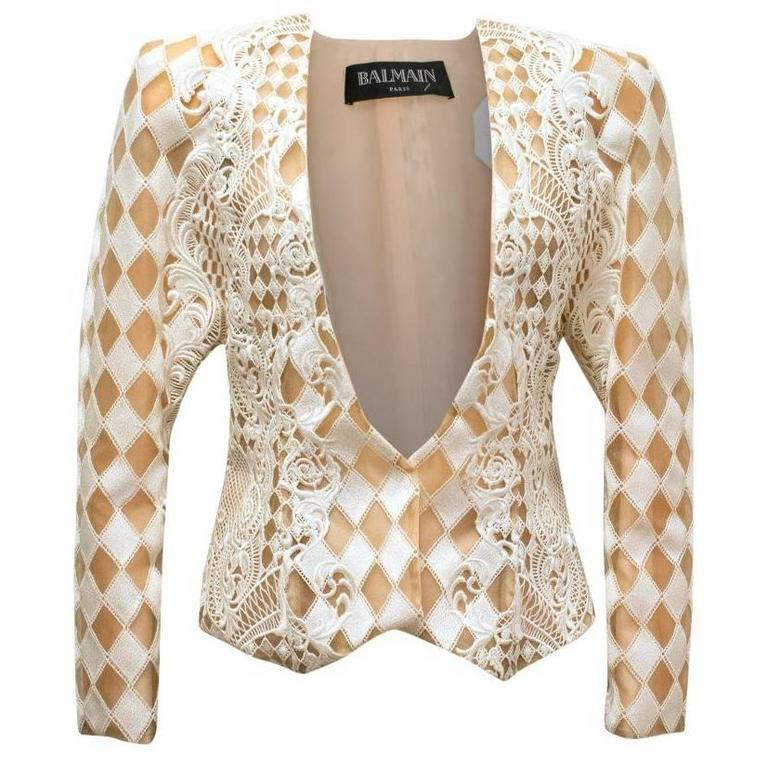 Balmain Nude and White Embroidered Jacket 1
