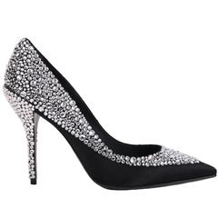 Roger Vivier Black Satin Crystal Encrusted Stiletto
