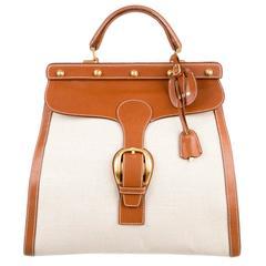 Gucci Canvas Cognac Men's Kelly Style CarryOn Travel Satchel Top Handle Bag
