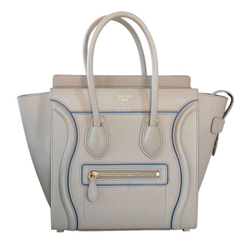 Celine Micro Luggage Light Taupe Calfskin Tote Handbag with Blue Piping