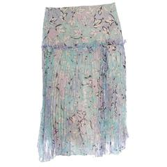 Emilio Pucci Signature Floral Print Silk Chiffon Plissee Pleated Skirt