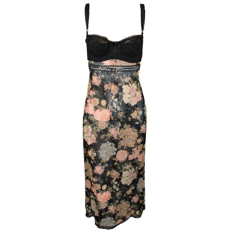 S/S 1997 Dolce and Gabbana Sheer Floral Lace Bra Dress XS ...