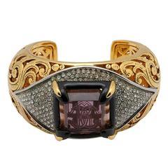 Roberto Cavalli NEW & SOLD OUT Gold Filigree Rhinestone Logo Cuff Bracelet