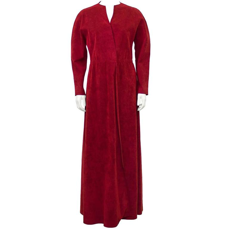 1970's Halston Red Ultra Suede Gown  1