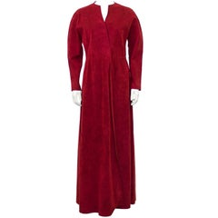 1970's Halston Red Ultra Suede Gown