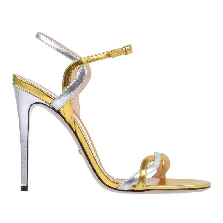 ce7d6ad578e1 Gucci NEW Silver Gold Metallic Strappy Evening Sandals Heels in Box For Sale