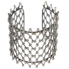 Alberta Ferretti Gunmetal Gray Rhinestone Evening Cuff Bracelet