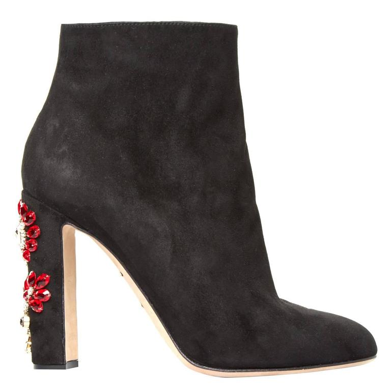 Dolce & Gabbana NEW & SOLD OUT Black Suede Crystal Ankle Booties in Box 1