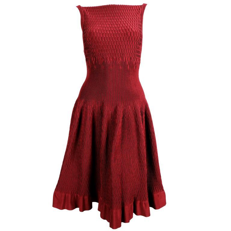 unworn AZZEDINE ALAIA bordeaux knit dress For Sale
