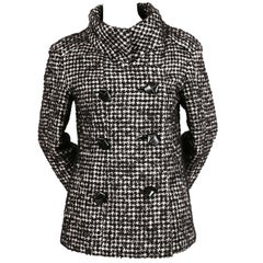 1960's JAMES GALANOS houndstooth wool jacket with 'knotted' leather buttons