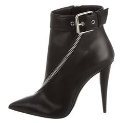 Giuseppe Zanotti NEW & SOLD OUT Black Leather Silver Ankle Booties in Box