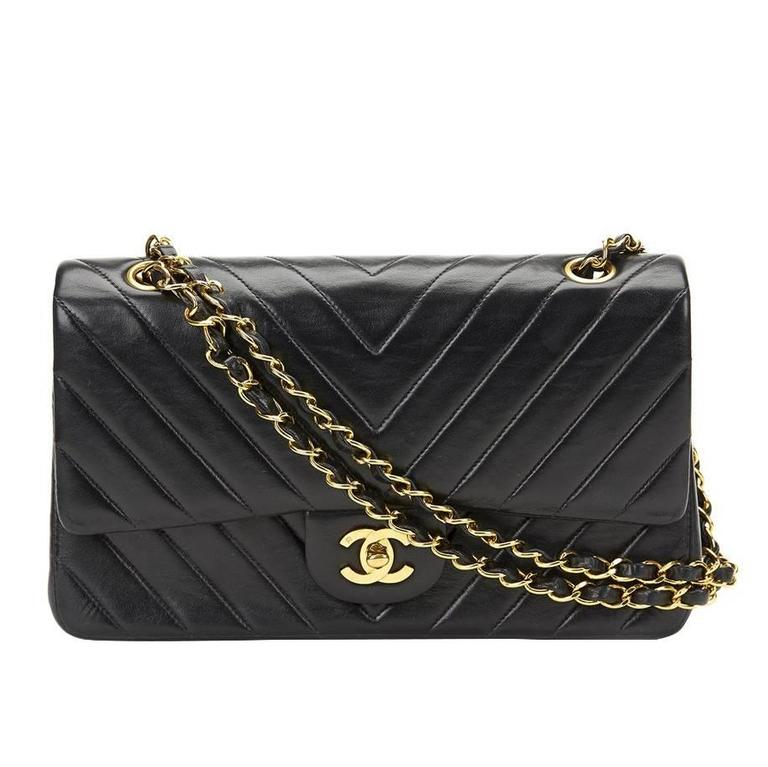 be3c7dcdefa1 1980s Chanel Chevron Quilted Lambskin Vintage Medium Classic Double Flap Bag  For Sale