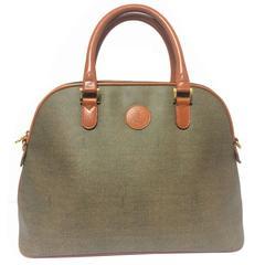 Vintage FENDI grey bolide bag style handbag with brown leather handles.