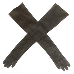 Sleek Ebony Opera Length Kid Skin Leather Gloves c 1970s