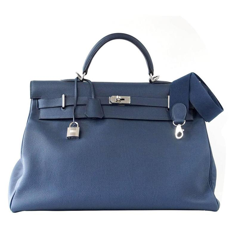 HERMES Kelly Voyage 50 cm Blue de Prusse Togo Palladium Carry On Weekender 1