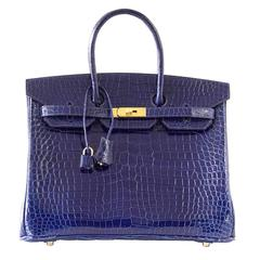 HERMES BIRKIN 35 Bag Blue Sapphire Porosus Crocodile Gold Hardware