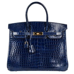Hermes Blue Sapphire Porosus Crocodile Gold Hardware Birkin 35 Bag