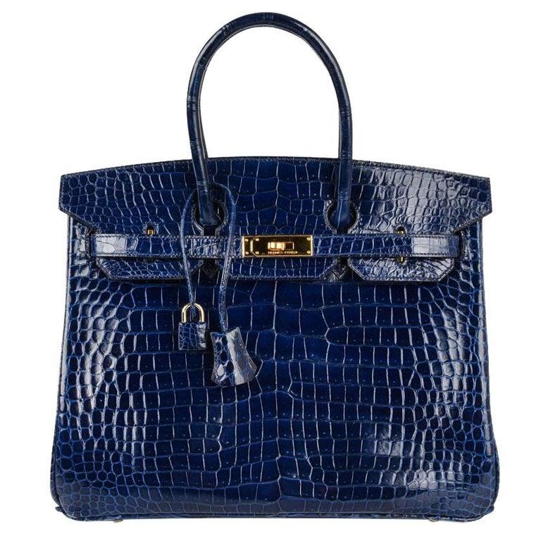 3cee37c31bfb Hermes Blue Sapphire Porosus Crocodile Gold Hardware Birkin 35 Bag For Sale