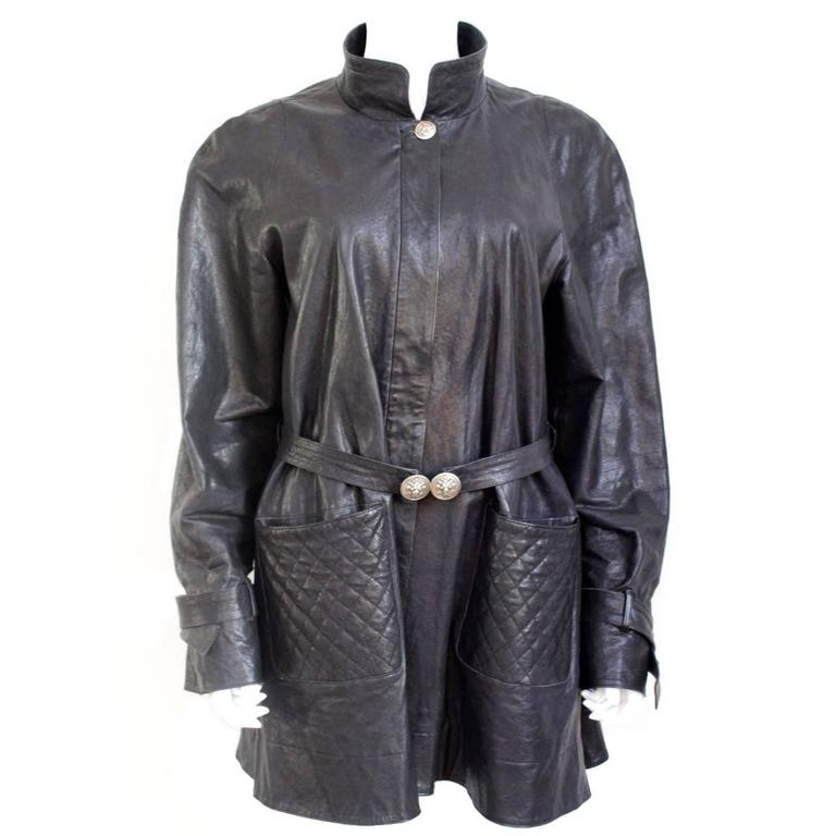 Chanel Black Quilted Leather Swing Coat Jacket 42 uk 14 at 1stdibs