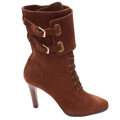 Ralph Lauren Double Buckle Cuff Lace-up Suede Heeled Boot